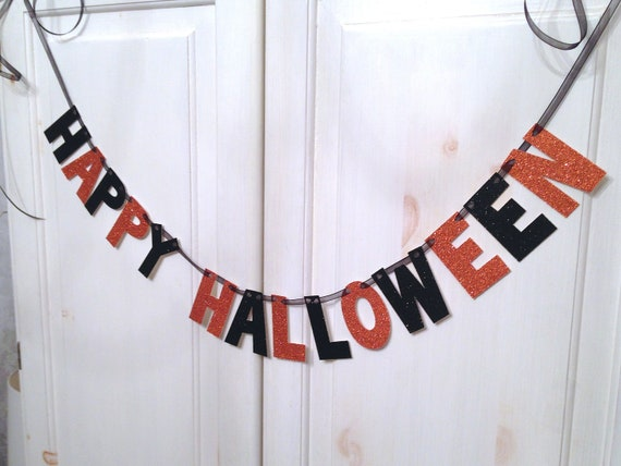 Happy Halloween glitter banner from Hawthorne Ave on Etsy