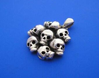 Silver Skull Pendant , Skull Necklace , Silver Skulls , Hand Made Solid Silver