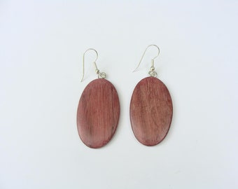 Oval Purpleheart and Sterling Silver Earrings