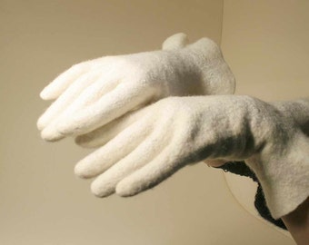Felted gloves - wedding accessories - felt gloves - white natural wool gloves - gift for her