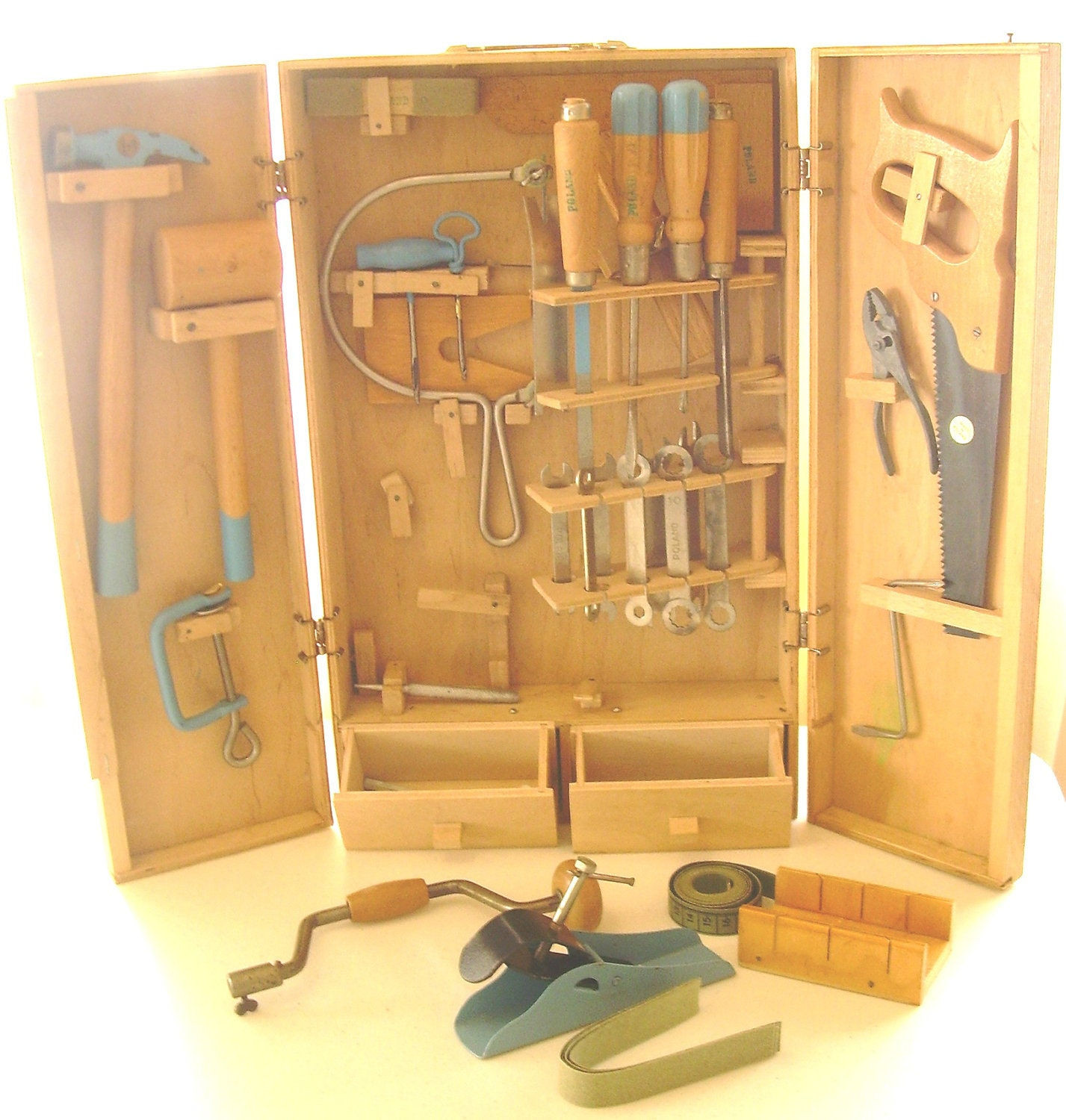 Vintage toy wood cabinet carpenter mechanic tools box - Wood cabinet design software ...