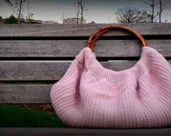 Sale,Powder pink colour,Special Knitting Handbag,Shoulder Bag-bamboo handle