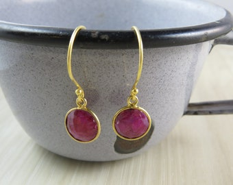 Gold vermeil earrings with ruby colored stone