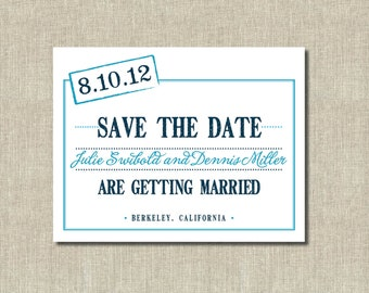 Printable Save the Date card - Blue on Blue Stamped Date - Custom Colors