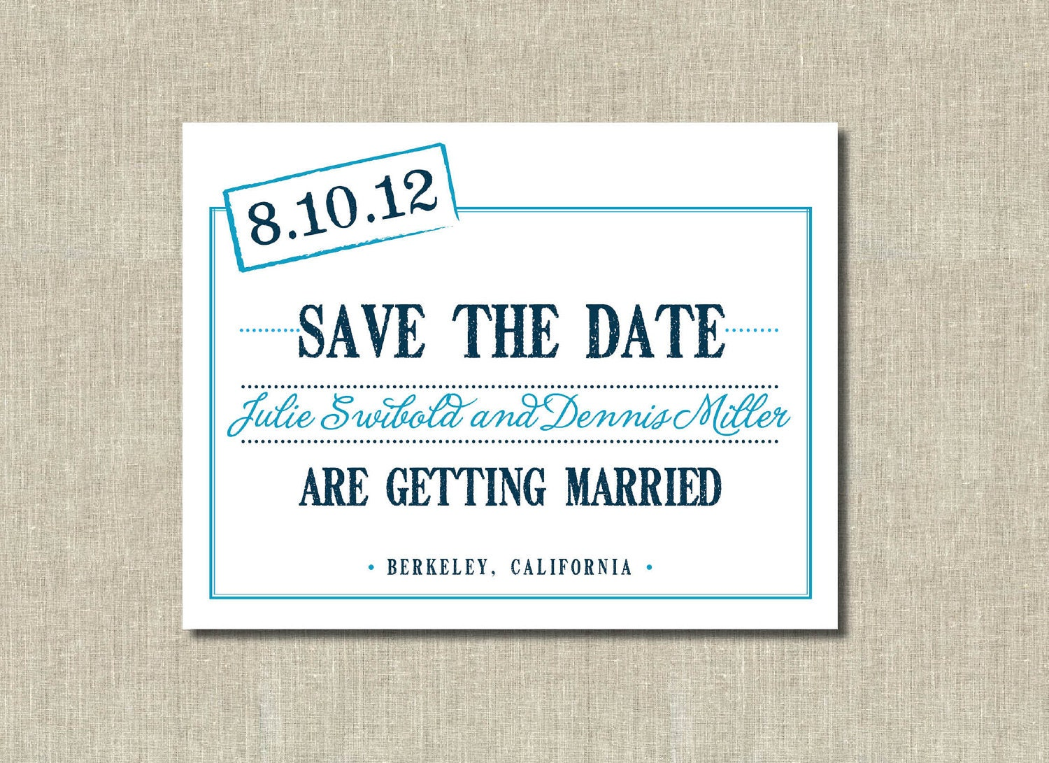 printable save the date card blue on blue stamped date