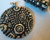 Metal Pendant and Bale Set - Crystals - Pewter Color