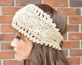 Crochet Ear Warmer, Handmade Accessory Womens Crochet Headband  in Lace color. Style.1