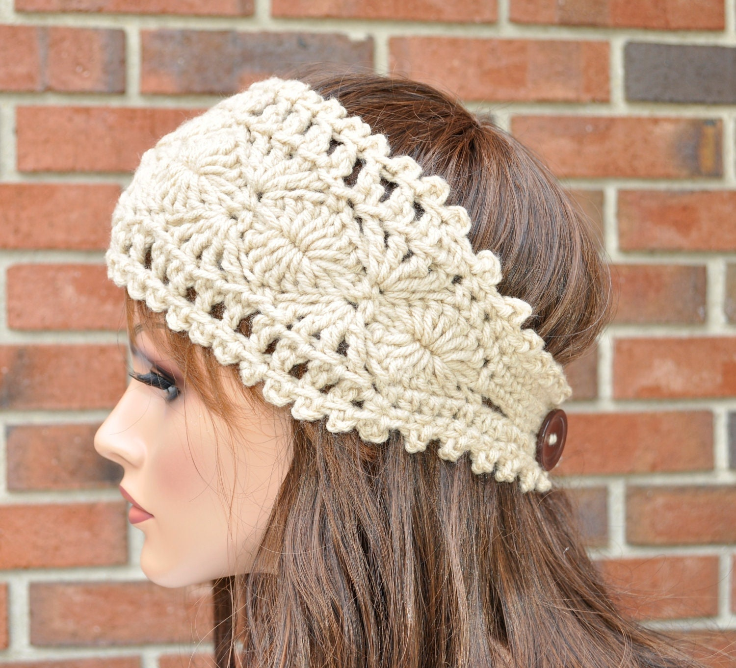 Free Crochet Pattern Headband Ear Warmer Button : Crochet Ear Warmer Handmade Accessory Womens Crochet Headband