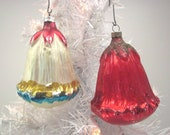 Glass Flower Christmas Holiday Tree Ornaments Set Of Two