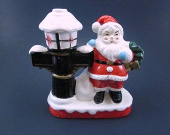 Vintage Ceramic Santa And Lamp Post Figurine