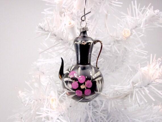 Vintage Figural Glass Coffee Pot Christmas Holiday Tree Ornament