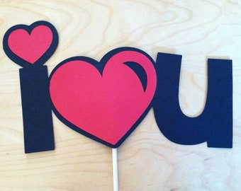 I LOVE YOU on a stick, Wedding photo props, photo booth props
