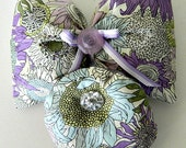 Sale - Button and Bow Lavender Sachet - Liberty of London Lawn and Silk Dupioni with Floral Buttons
