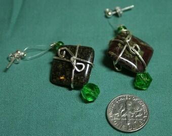 Dragonsblood Jasper Wire-Wrapped Earrings