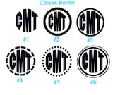 4 inch Monogrammed vinyl block letters decal (different color options)