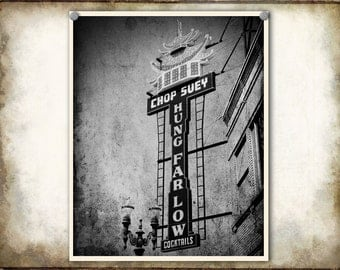 Portland Oregon Photo Hung Far Low Chinese Restaurant--Fine Art Black and White Photography 8x10