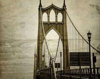 Portland Oregon Photo St. John's Bridge Distressed Sepia--Fine Art Lomography 8x10