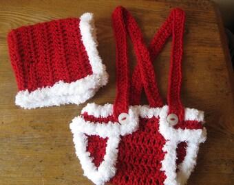Crochet Baby Hat and Diaper Cover Christmas  Photo Prop Bonnet Suspenders Elf Pixie Santa