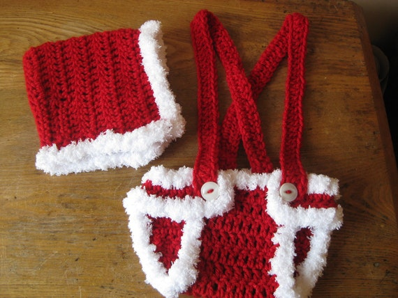 Crochet Baby Hat and Diaper Cover Christmas Photo by ...
