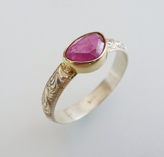 Ruby 14K gold and Silver Filigree Ring by GillieAmsterdam