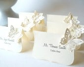 Butterfly Place Cards,  Butterfly Escort Cards - Ivory and Buttercream, Custom Printed or Blank