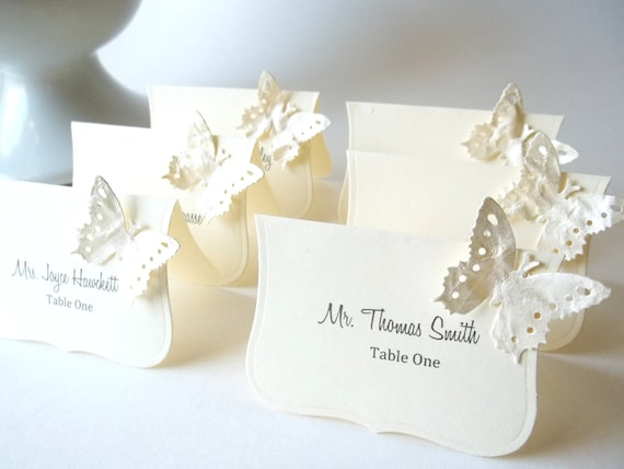 Luxe Wedding  Escort Cards , Butterfly Place Cards, Wedding Seat Cards -   Ivory and Shimmer