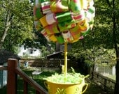 Green/Yellow/White/Pink Ribbon Topiary in Metal Pail/Centerpiece/Decoration/Gift/Get Well