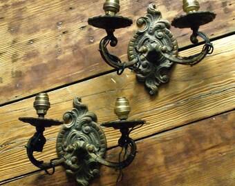 Pair of Vintage Decorative Wall Scones, Vintage Scones, Brass Scones,Cottage Decor