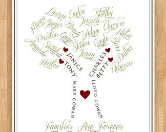 8x10 Wall Art Print Personalized Family Tree by PembertonPrints