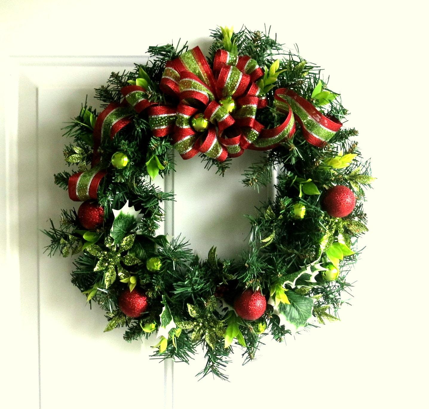 Christmas Wreath Lime Green And Red Christmas Wreath