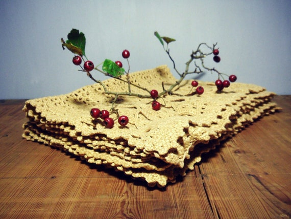 Vintage Crocheted Placemats set of six Free shipping