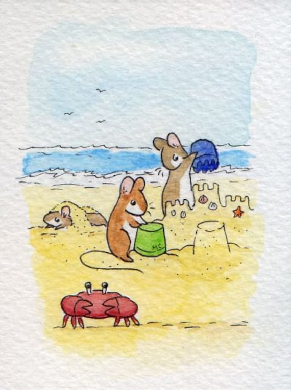 "ACEO PRINT ""Sandcastles"" by The Wistful Mouse"
