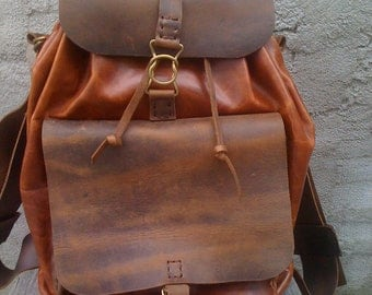 Leather Backpack Handmade Hand Stitched Bag For Men And Women Backpack Bag