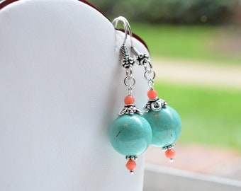 Turquoise and Coral Sterling Silver Earrings / Turquoise and Coral Sterling Dangle