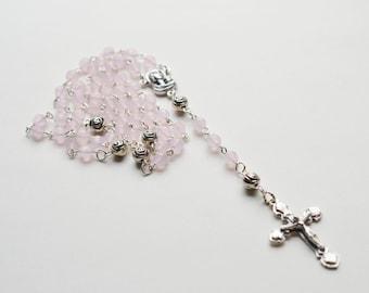 Rose Quartz Gemstone Catholic Rosary Necklace, Traditional 5 Decade Catholic Rosary, Easter