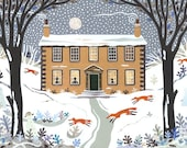 Bronte Sisters - Christmas - Christmas Card - Holiday - Snow Scene - Naive Art - Collage - Writers' Houses -  Booklovers - English Authors