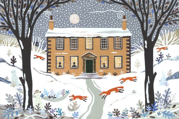 Bronte Sisters Christmas - Christmas Card - Holiday - Snow - Writer's House - Literary Lives - Snowmen - Foxes - Moon - Naive Art - Collage