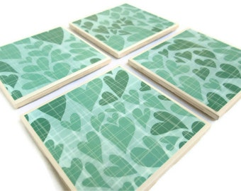 Teal Heart Coasters, Hearts on Blue/Green/Teal, Set of 4