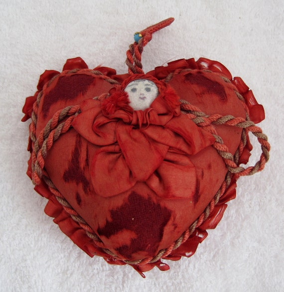Vintage RED Heart Silky Pillow w Face Button Pincushion