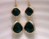Black onyx glass stone earrings, bridesmaid earrings, boho-chic