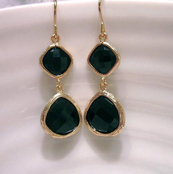 Black Stone Earrings: Black Onyx Glass Stone Earrings Bridesmaid Earrings