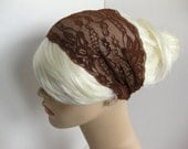 Wide Stretch Lace Headband Chocolate Brown Head Wrap Women's Hairband Head Covering Hair Accessory by flowercitythreads