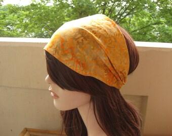 Batik Fabric Festival Headband Gypsy Head Wrap Womens Headband Orange Flower Scroll Bandana Dread Wrap Hair Accessory Womens Gift for Her