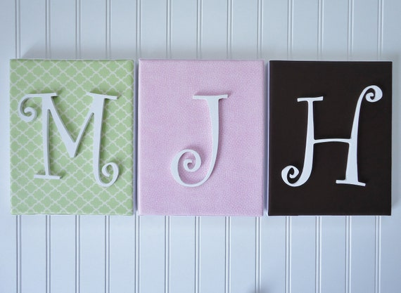 Personalized Wall Decor Letters : Items similar to wall letters nursery decor upholstered