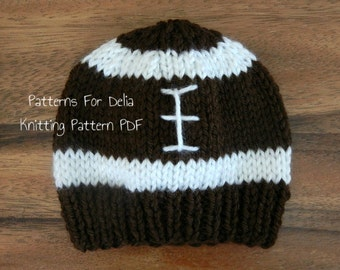 Football Hat  KNITTING PATTERN  easy beginner flat knit beanie newborn infant toddler child adult