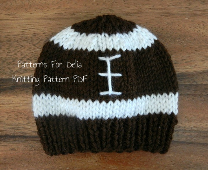 Football Hat KNITTING PATTERN easy beginner flat knit beanie