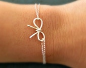 Sterling Silver Bow Bracelet bridesmaid jewelry Thanks for Helping Me Tie the Knot Will you Be my Bridesmaid