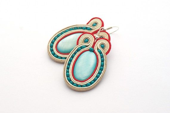 Soutache Earrings, Hand Embroidered Turquoise Beige Red Earrings Soutache, Soutache Jewelry, sterling silver