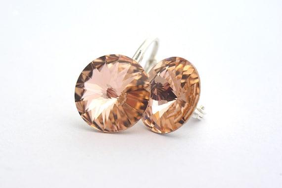 Pastel Peach Earrings, Swarovski Rivoli Earrings, Rivoli Crystals, Light Peach Shimmer Color, Sterling Silver 925