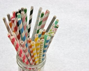Paper Straw, 50 Pack, Pick Your Color/s